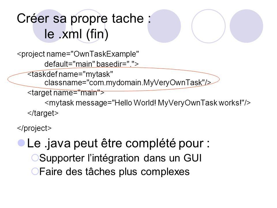 Créer sa propre tache : le.xml (fin) <project name= OwnTaskExample default= main basedir= . > Le.java peut être complété pour : Supporter lintégration dans un GUI Faire des tâches plus complexes