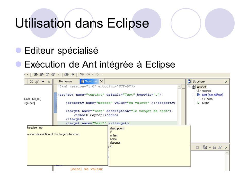 Utilisation dans Eclipse Editeur spécialisé Exécution de Ant intégrée à Eclipse
