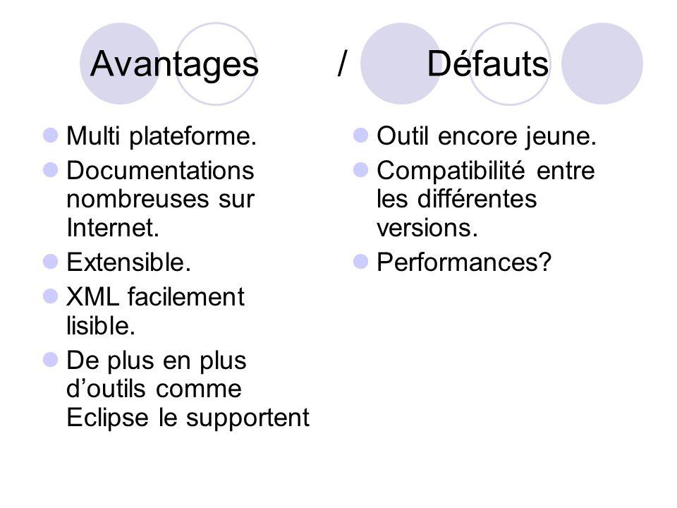 Avantages / Défauts Multi plateforme. Documentations nombreuses sur Internet.