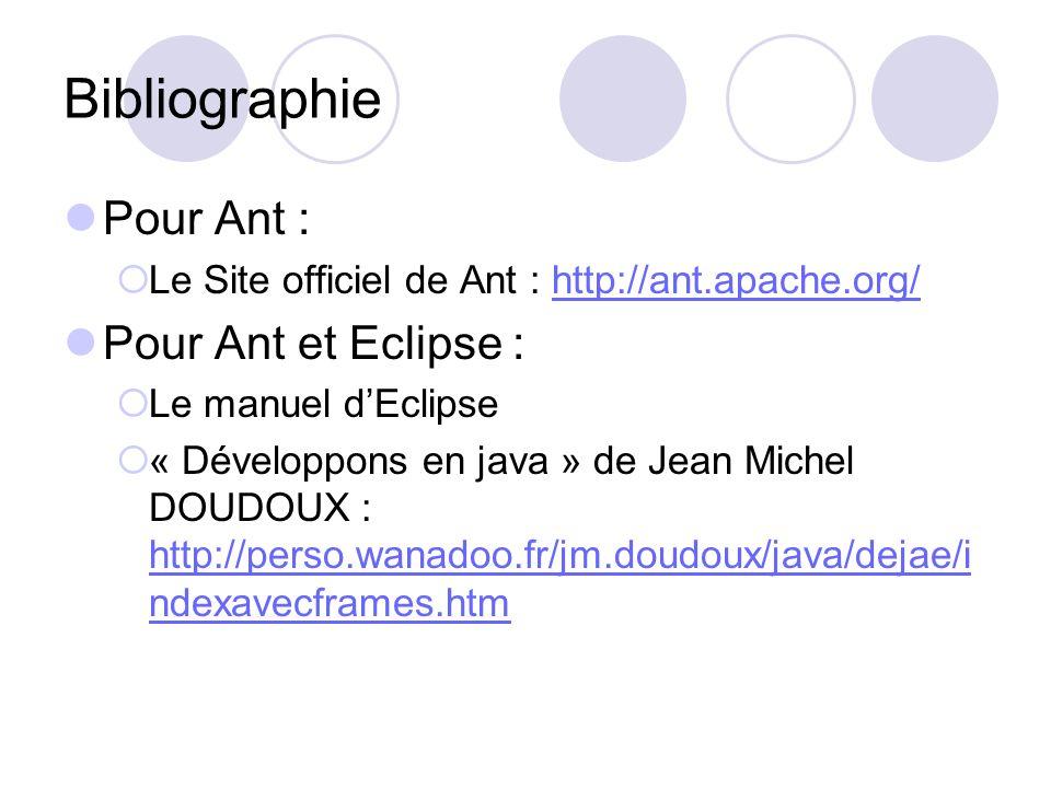 Bibliographie Pour Ant : Le Site officiel de Ant : http://ant.apache.org/http://ant.apache.org/ Pour Ant et Eclipse : Le manuel dEclipse « Développons en java » de Jean Michel DOUDOUX : http://perso.wanadoo.fr/jm.doudoux/java/dejae/i ndexavecframes.htm http://perso.wanadoo.fr/jm.doudoux/java/dejae/i ndexavecframes.htm