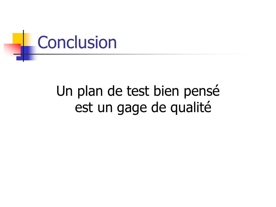 Conclusion Un plan de test bien pensé est un gage de qualité