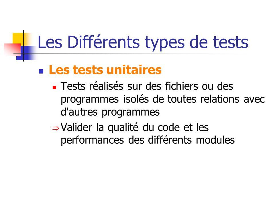 Les Différents types de tests Les tests unitaires Tests réalisés sur des fichiers ou des programmes isolés de toutes relations avec d'autres programme