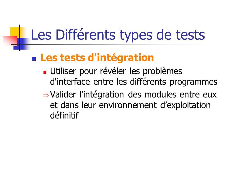 Les Différents types de tests Les tests d'intégration Utiliser pour révéler les problèmes d'interface entre les différents programmes Valider lintégra