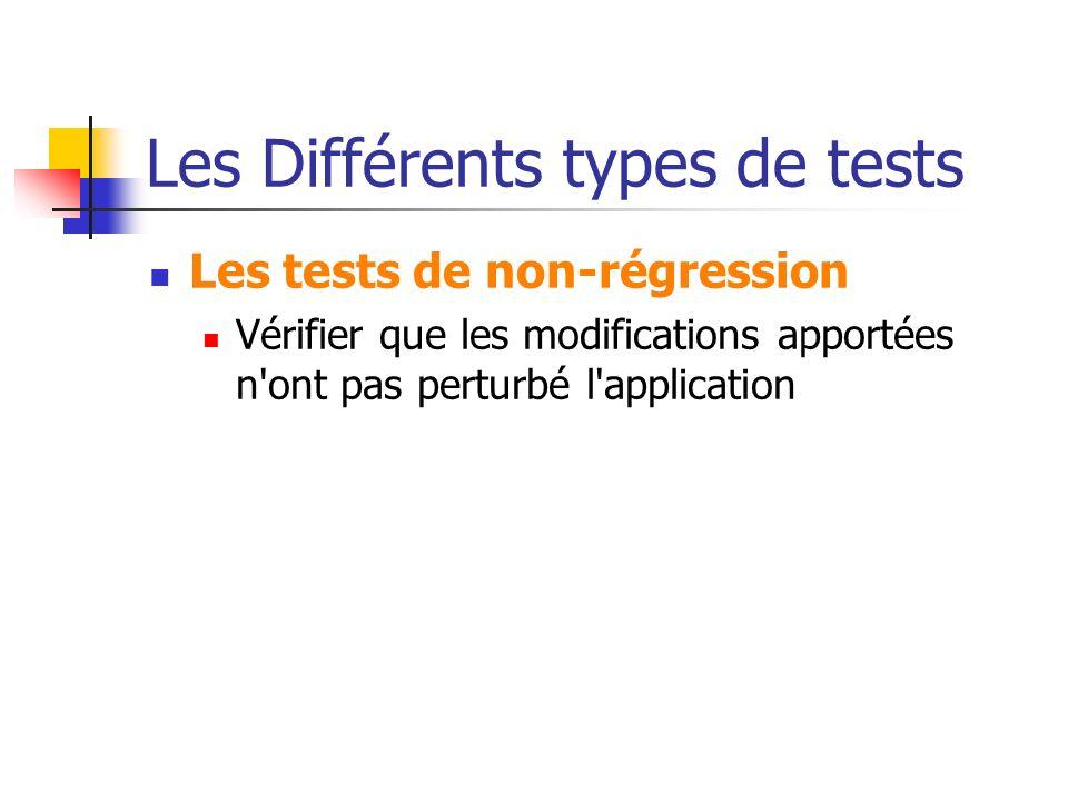 Les Différents types de tests Les tests de non-régression Vérifier que les modifications apportées n'ont pas perturbé l'application