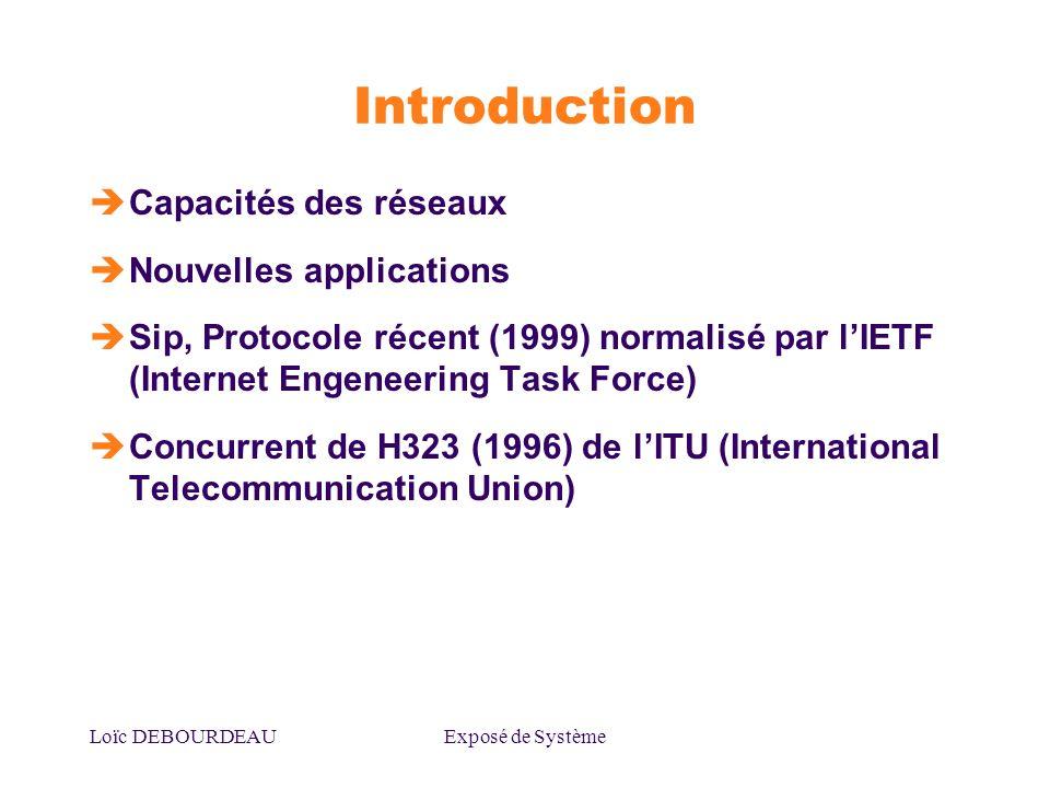 Loïc DEBOURDEAUExposé de Système Introduction Capacités des réseaux Nouvelles applications Sip, Protocole récent (1999) normalisé par lIETF (Internet