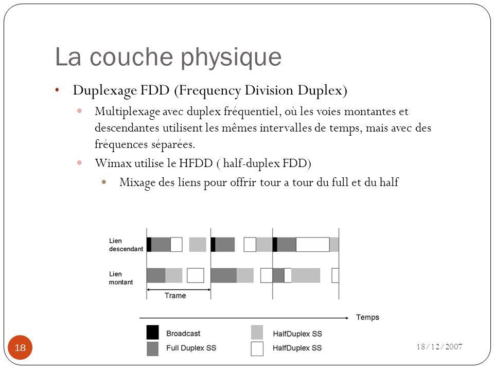 La couche physique 18/12/2007 18 Duplexage FDD (Frequency Division Duplex) Multiplexage avec duplex fréquentiel, où les voies montantes et descendante