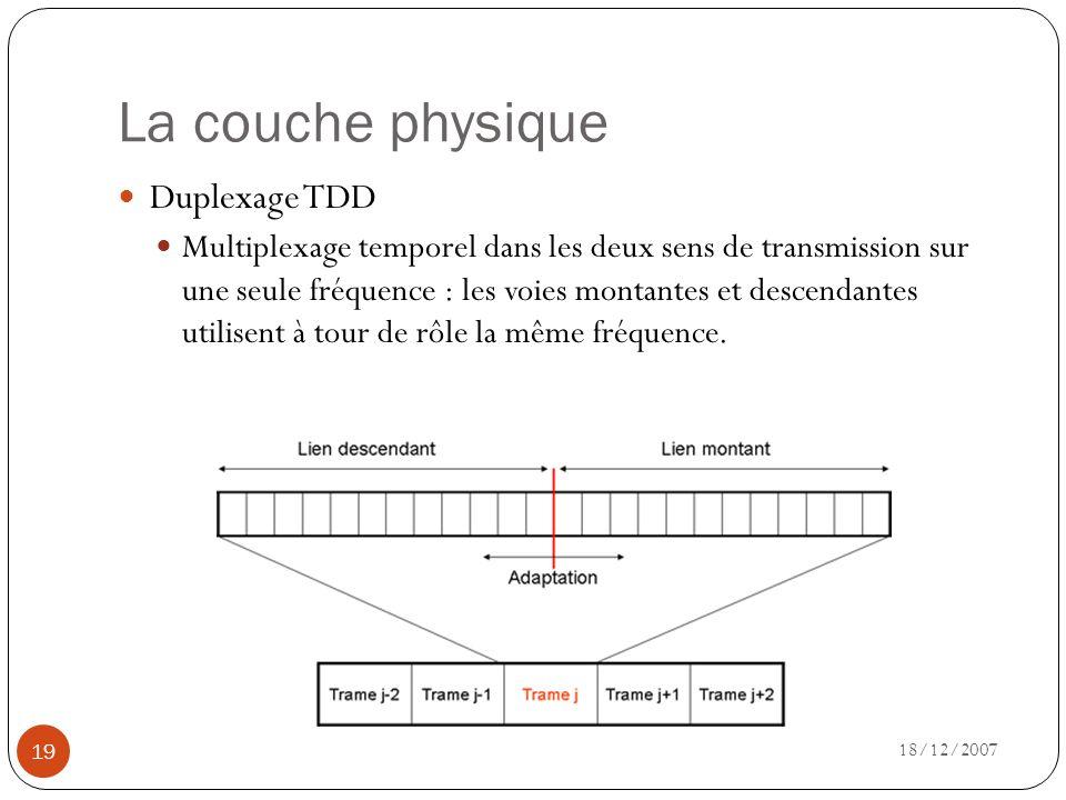 La couche physique 18/12/2007 19 Duplexage TDD Multiplexage temporel dans les deux sens de transmission sur une seule fréquence : les voies montantes