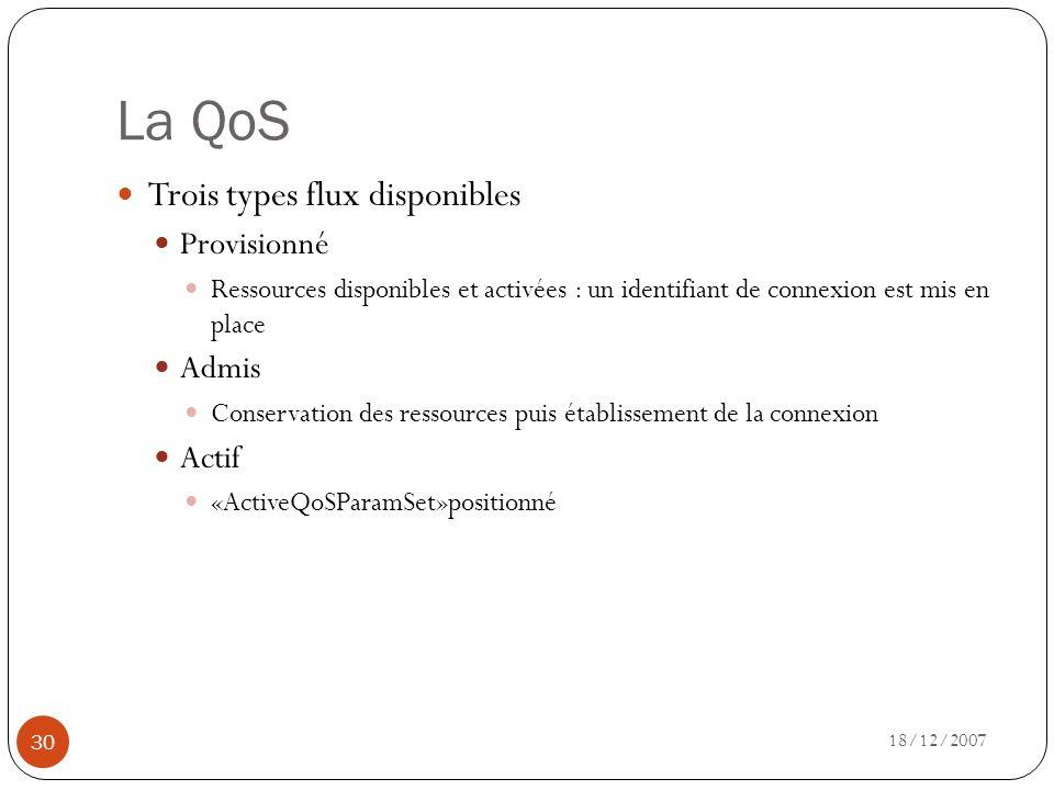 La QoS 18/12/2007 30 Trois types flux disponibles Provisionné Ressources disponibles et activées : un identifiant de connexion est mis en place Admis