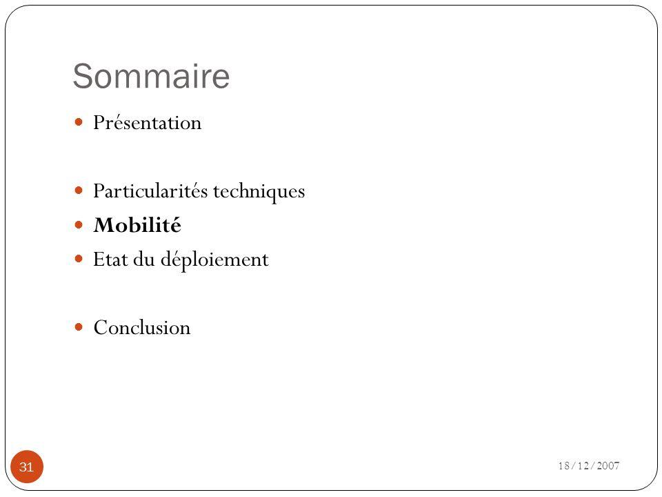 Sommaire 18/12/2007 31 Présentation Particularités techniques Mobilité Etat du déploiement Conclusion