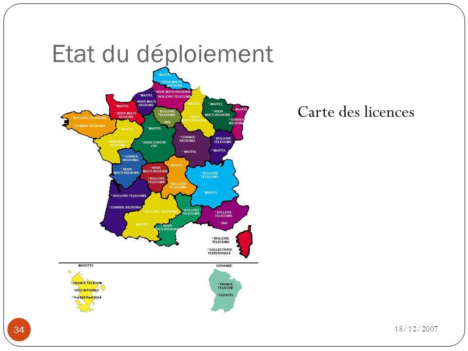 Etat du déploiement 18/12/2007 34 Carte des licences