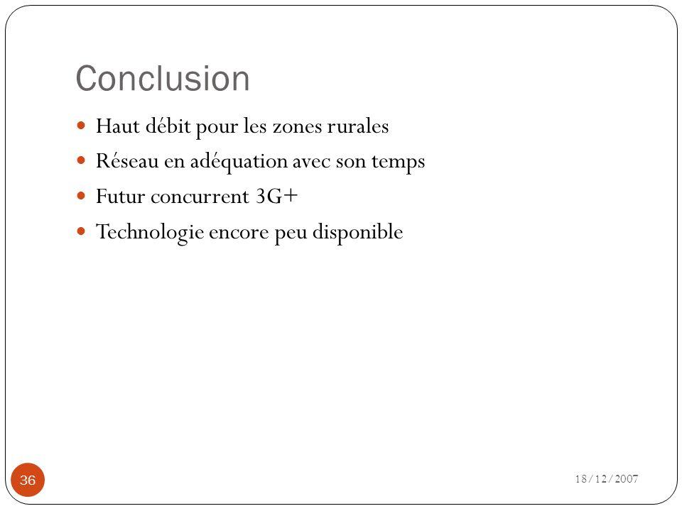 Conclusion 18/12/2007 36 Haut débit pour les zones rurales Réseau en adéquation avec son temps Futur concurrent 3G+ Technologie encore peu disponible