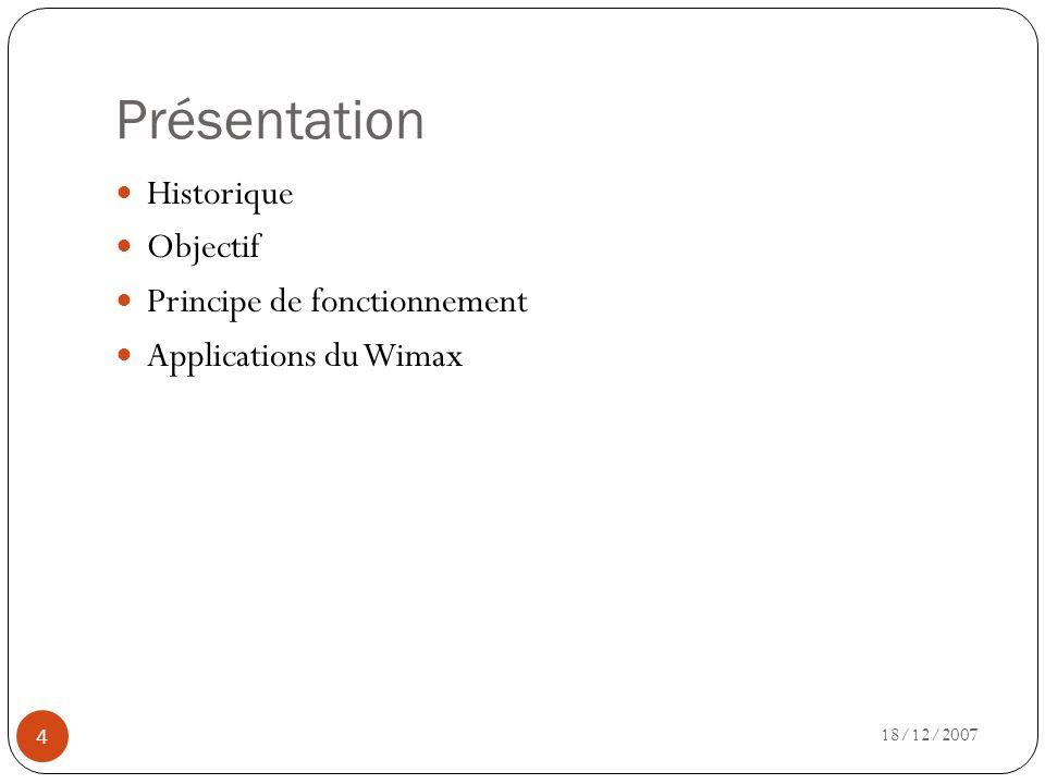 Historique 18/12/2007 5 WiMAX abréviation pour Worldwide Interoperability for Microwave Access.