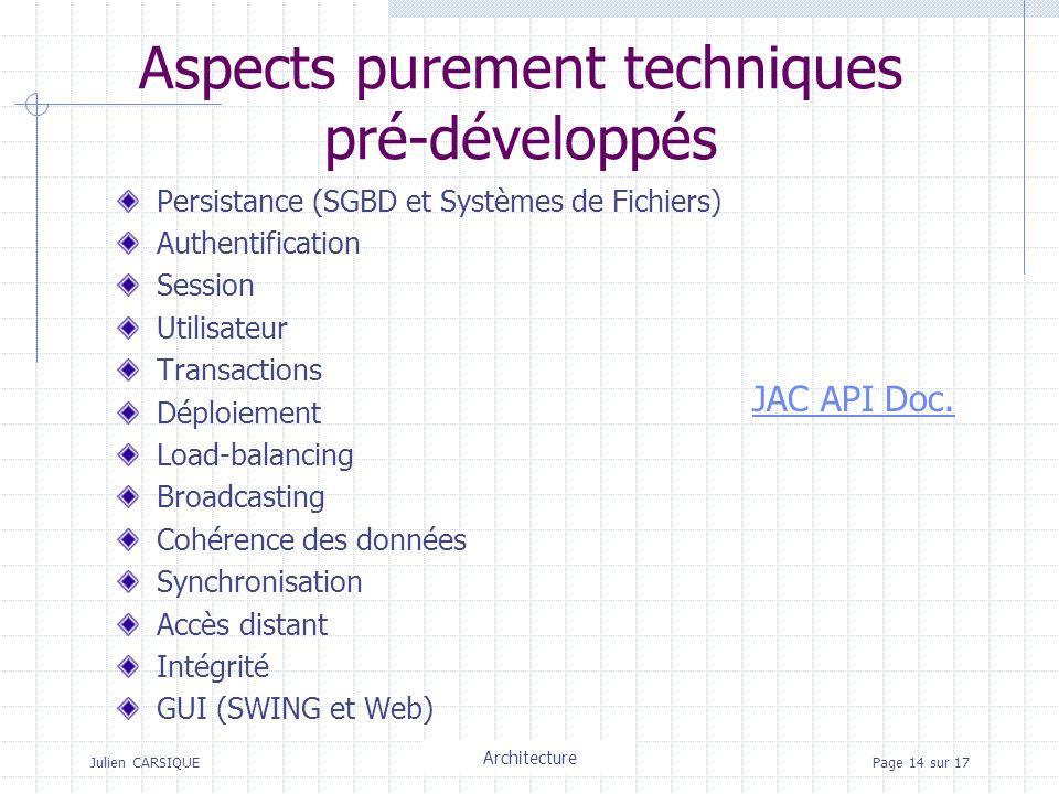 Julien CARSIQUETitre de la pagePage 14 sur 17 Aspects purement techniques pré-développés Persistance (SGBD et Systèmes de Fichiers) Authentification Session Utilisateur Transactions Déploiement Load-balancing Broadcasting Cohérence des données Synchronisation Accès distant Intégrité GUI (SWING et Web) JAC API Doc.