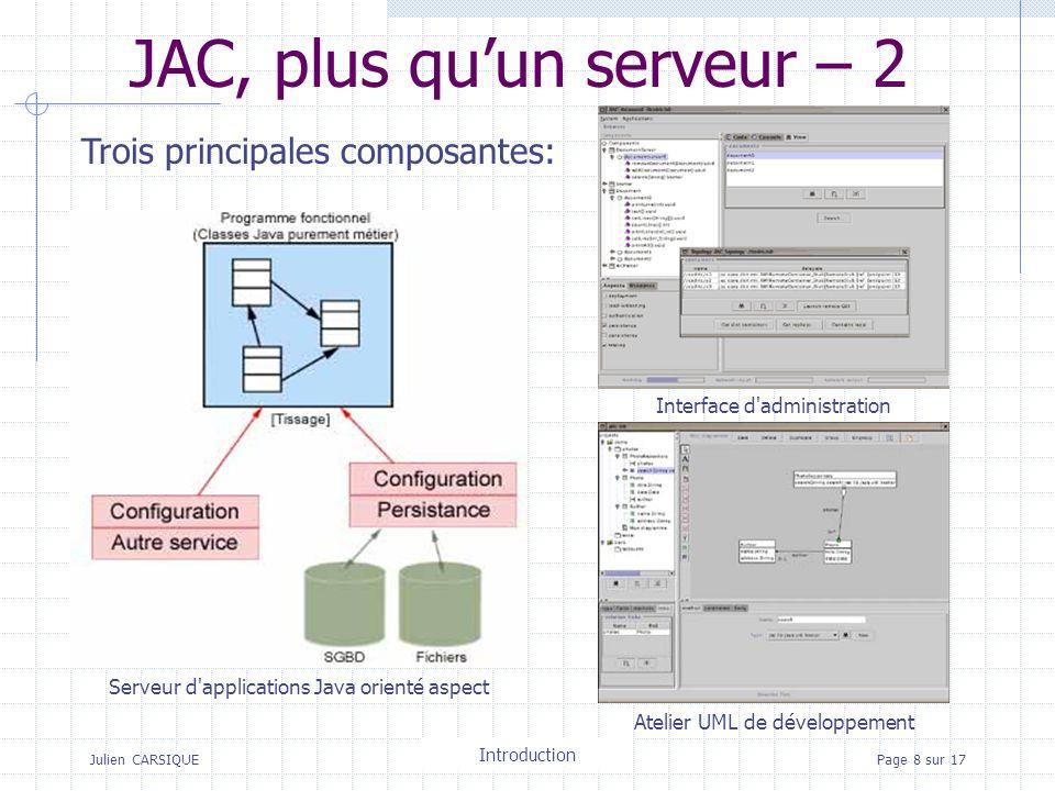 Julien CARSIQUETitre de la pagePage 8 sur 17 JAC, plus quun serveur – 2 Trois principales composantes: Serveur d applications Java orienté aspect Interface d administration Atelier UML de développement Introduction
