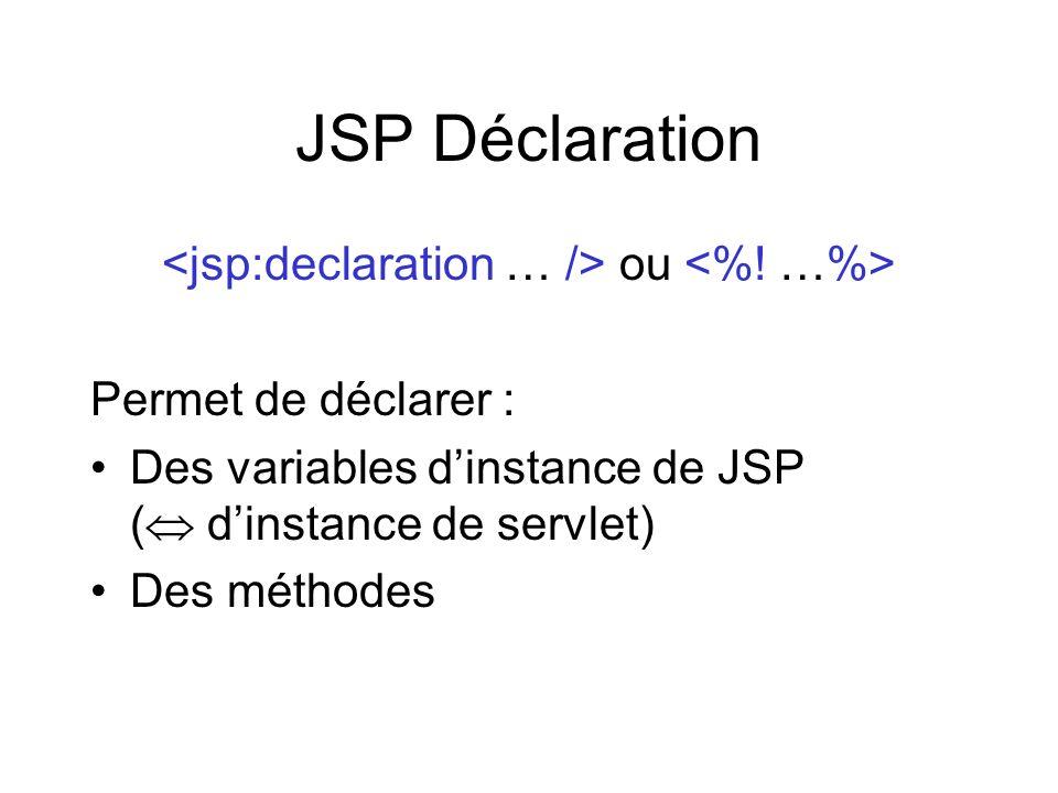 JSP Déclaration ou Permet de déclarer : Des variables dinstance de JSP ( dinstance de servlet) Des méthodes