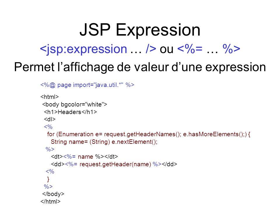 JSP Expression ou Permet laffichage de valeur dune expression Headers <% for (Enumeration e= request.getHeaderNames(); e.hasMoreElements();) { String