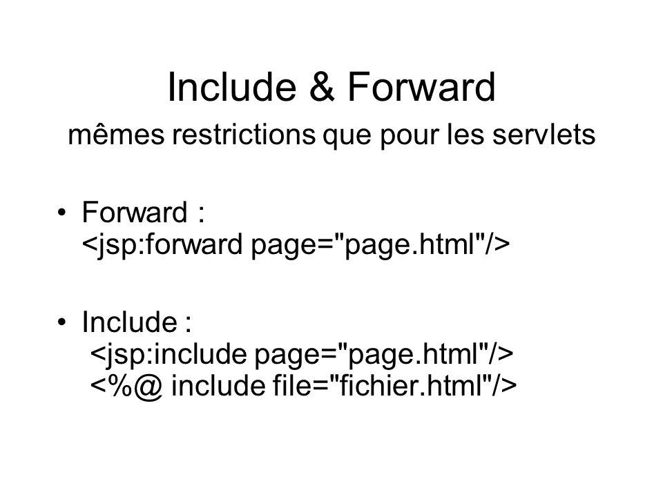 Include & Forward mêmes restrictions que pour les servlets Forward : Include :