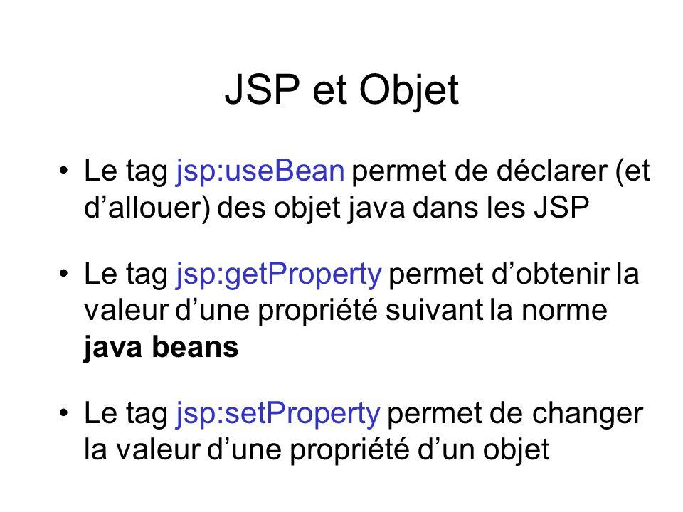 JSP et Objet Le tag jsp:useBean permet de déclarer (et dallouer) des objet java dans les JSP Le tag jsp:getProperty permet dobtenir la valeur dune pro
