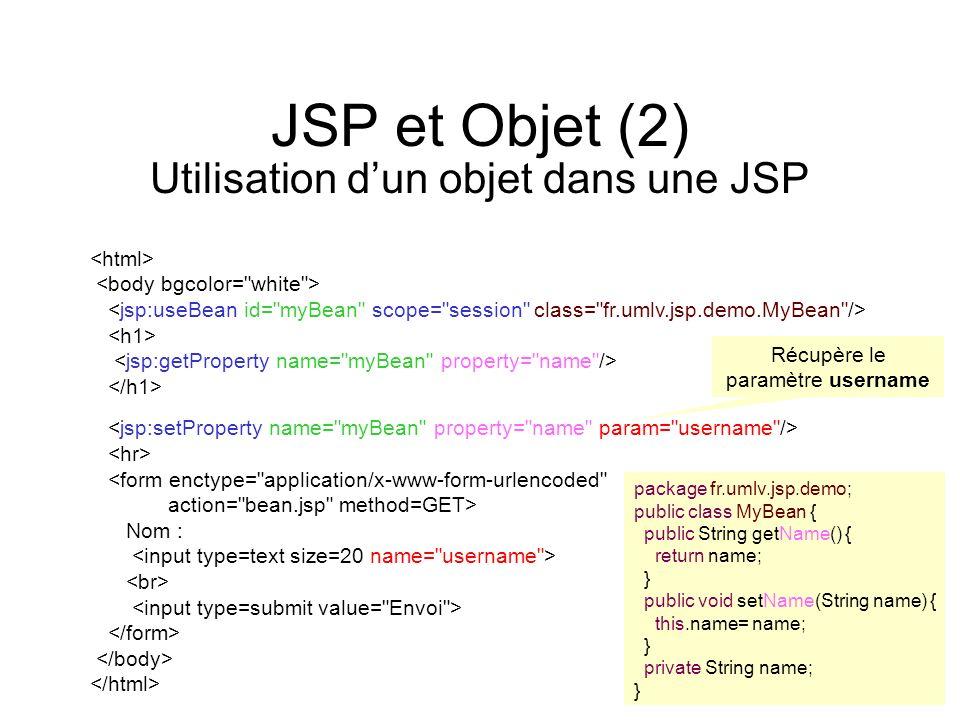 JSP et Objet (2) Utilisation dun objet dans une JSP <form enctype=