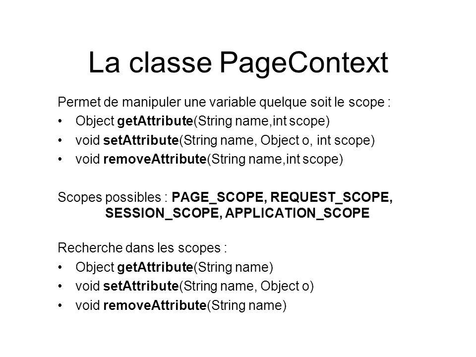 La classe PageContext Permet de manipuler une variable quelque soit le scope : Object getAttribute(String name,int scope) void setAttribute(String nam