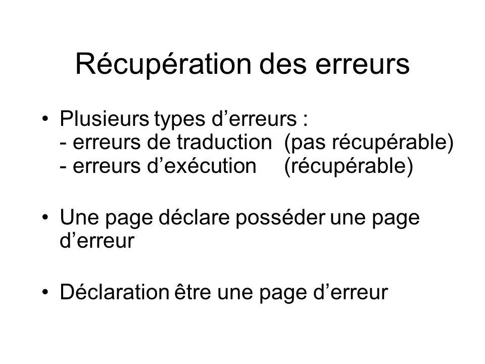 Récupération des erreurs Plusieurs types derreurs : - erreurs de traduction(pas récupérable) - erreurs dexécution (récupérable) Une page déclare possé