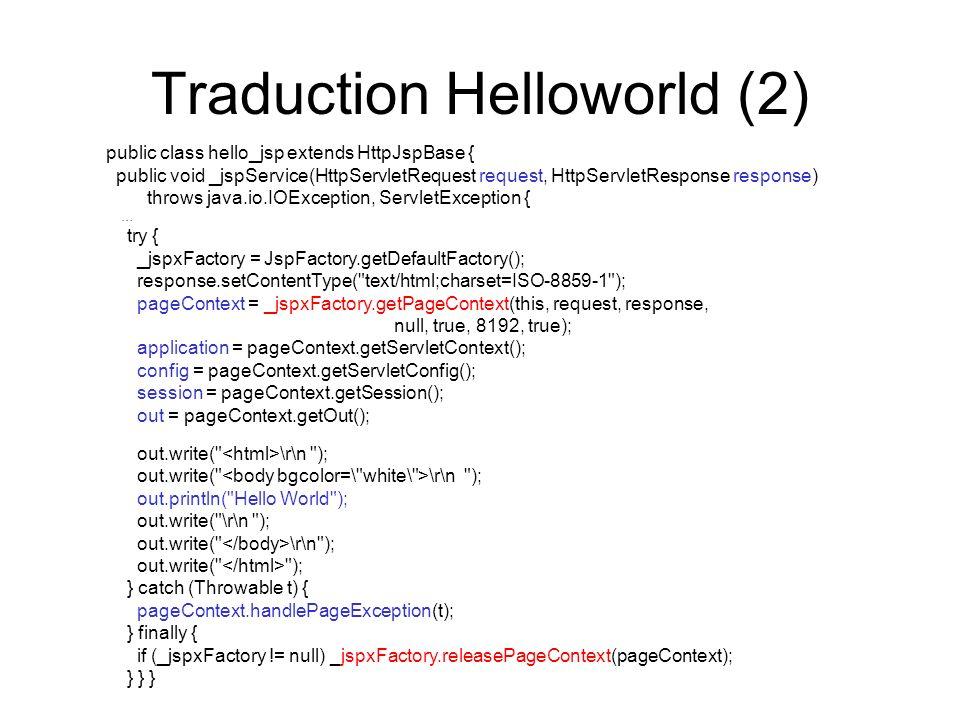Traduction Helloworld (2) public class hello_jsp extends HttpJspBase { public void _jspService(HttpServletRequest request, HttpServletResponse respons