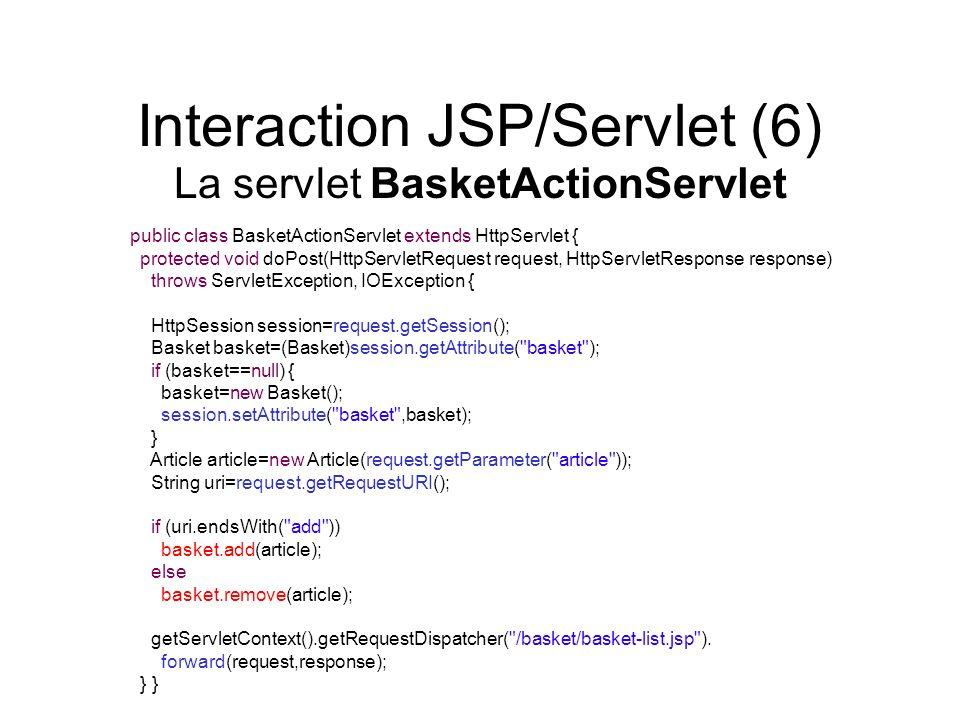 Interaction JSP/Servlet (6) La servlet BasketActionServlet public class BasketActionServlet extends HttpServlet { protected void doPost(HttpServletReq