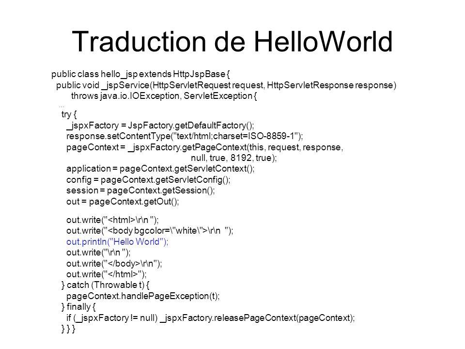 Traduction de HelloWorld public class hello_jsp extends HttpJspBase { public void _jspService(HttpServletRequest request, HttpServletResponse response