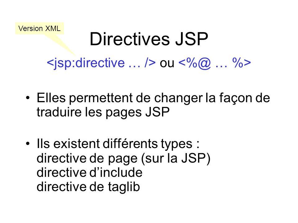 Directive de page <%@ page language=scriptingLanguage extends=className import=importList session=true|false buffer=none|sizekb autoFlush=true|false isThreadSafe=true|false info=info_text errorPage=error_url isErrorPage=true|false contentType=ctinfo pageEncoding=peinfo isELIgnored=true|false> par ex: Java La JSP étend la classe Liste de import Java Utilise une session taille du buffer réponse Flush la réponseNest pas synchronizé Redirige les erreurs Est appelé en cas derreur Langage de script (JSP 2.0) Directive de page