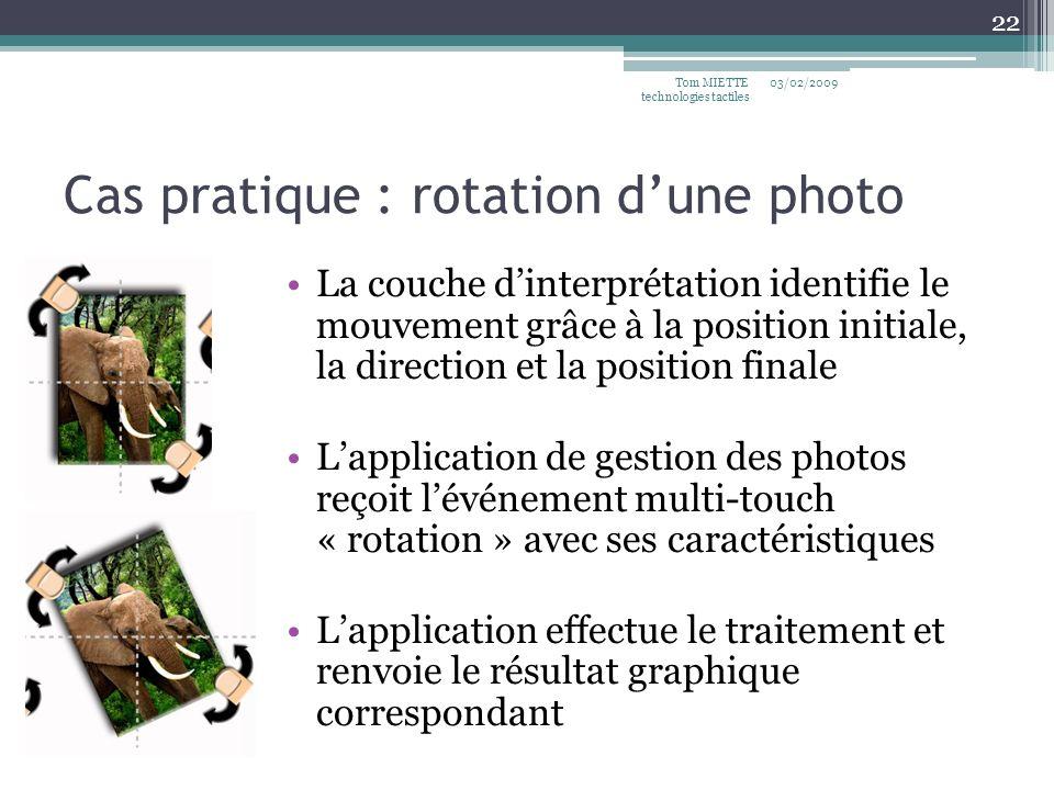 Cas pratique : rotation dune photo La couche dinterprétation identifie le mouvement grâce à la position initiale, la direction et la position finale L