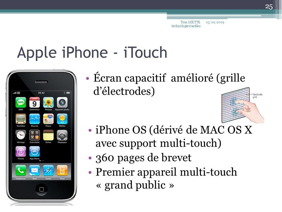 Apple iPhone - iTouch Écran capacitif amélioré (grille délectrodes) 03/02/2009Tom MIETTE technologies tactiles 25 iPhone OS (dérivé de MAC OS X avec s