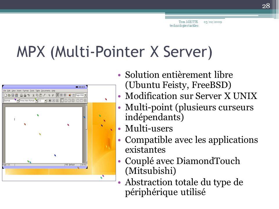 MPX (Multi-Pointer X Server) Solution entièrement libre (Ubuntu Feisty, FreeBSD) Modification sur Server X UNIX Multi-point (plusieurs curseurs indépe