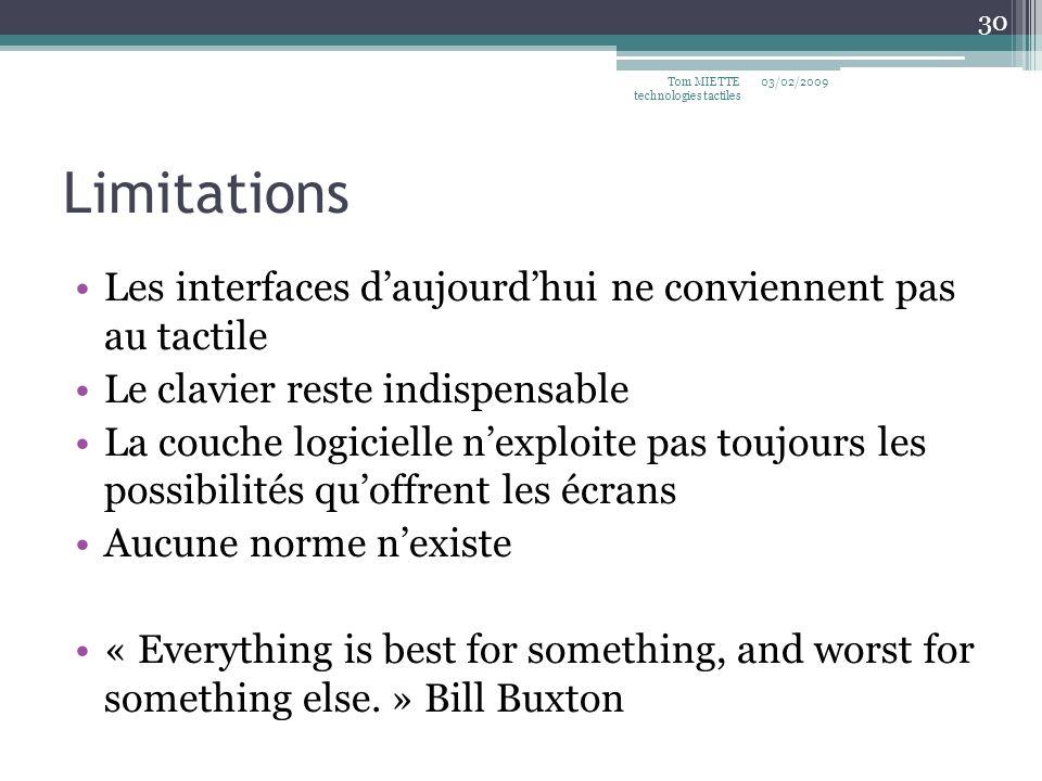 Limitations Les interfaces daujourdhui ne conviennent pas au tactile Le clavier reste indispensable La couche logicielle nexploite pas toujours les po