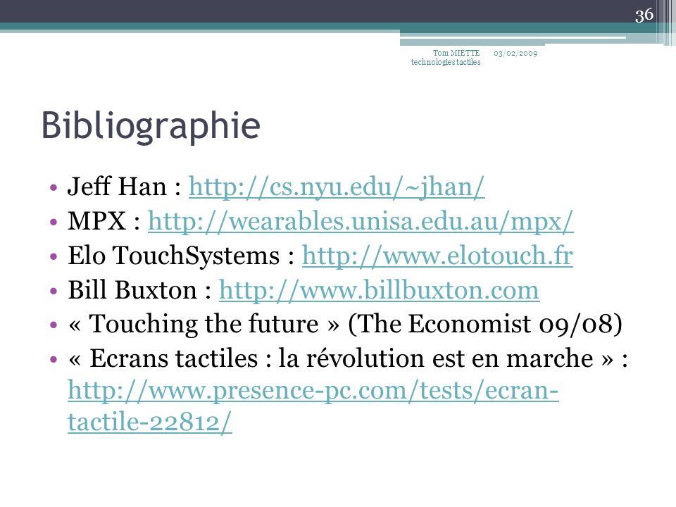 Bibliographie Jeff Han : http://cs.nyu.edu/~jhan/http://cs.nyu.edu/~jhan/ MPX : http://wearables.unisa.edu.au/mpx/http://wearables.unisa.edu.au/mpx/ E