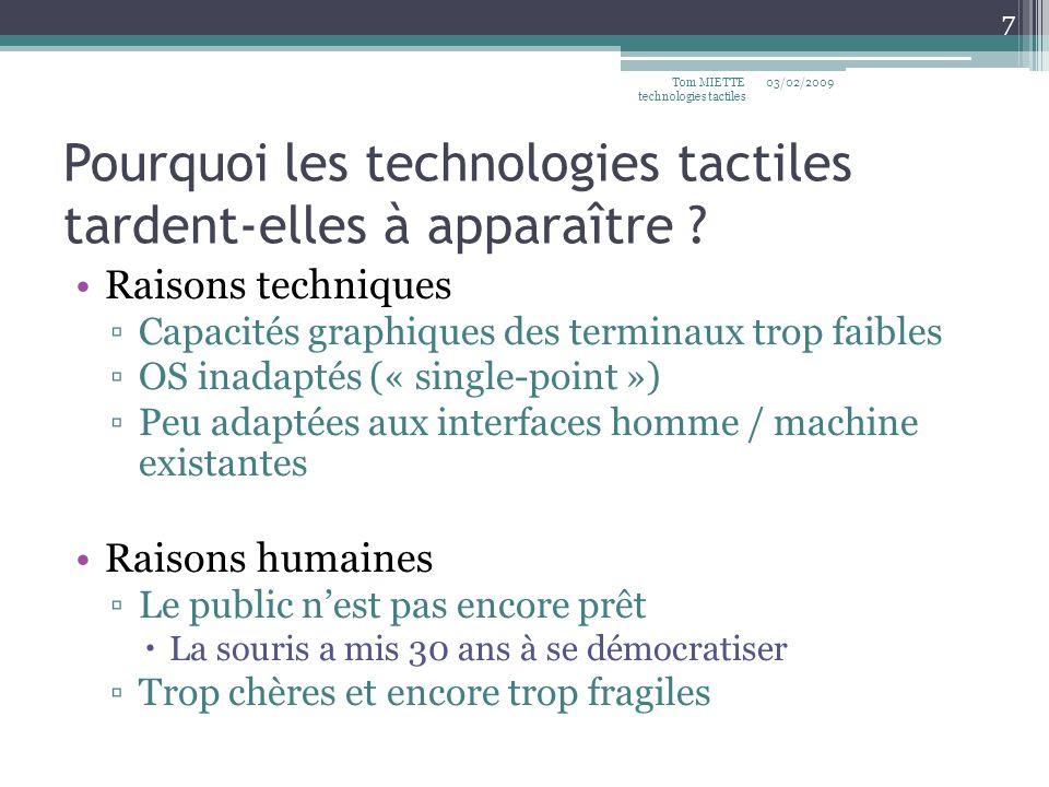 Pourquoi les technologies tactiles tardent-elles à apparaître ? Raisons techniques Capacités graphiques des terminaux trop faibles OS inadaptés (« sin