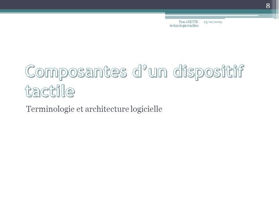 Terminologie et architecture logicielle 03/02/2009Tom MIETTE technologies tactiles 8