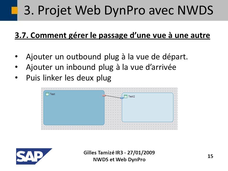 3. Projet Web DynPro avec NWDS 3.7. Comment gérer le passage dune vue à une autre Ajouter un outbound plug à la vue de départ. Ajouter un inbound plug