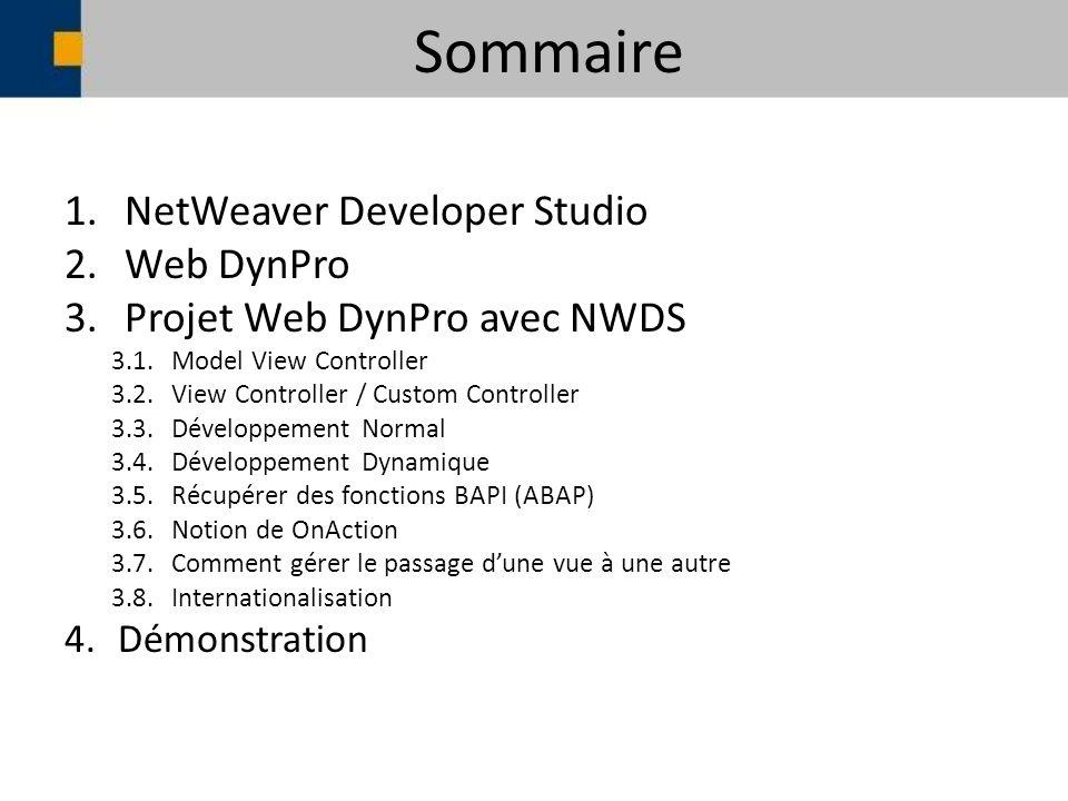 Sommaire 1.NetWeaver Developer Studio 2.Web DynPro 3.Projet Web DynPro avec NWDS 3.1.Model View Controller 3.2.View Controller / Custom Controller 3.3