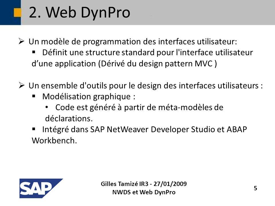 2. Web DynPro Un modèle de programmation des interfaces utilisateur: Définit une structure standard pour l'interface utilisateur dune application (Dér
