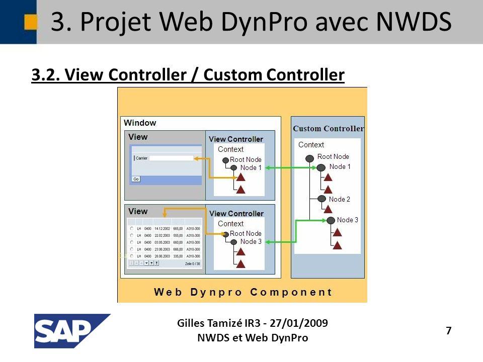 3. Projet Web DynPro avec NWDS 3.2. View Controller / Custom Controller Gilles Tamizé IR3 - 27/01/2009 NWDS et Web DynPro 7