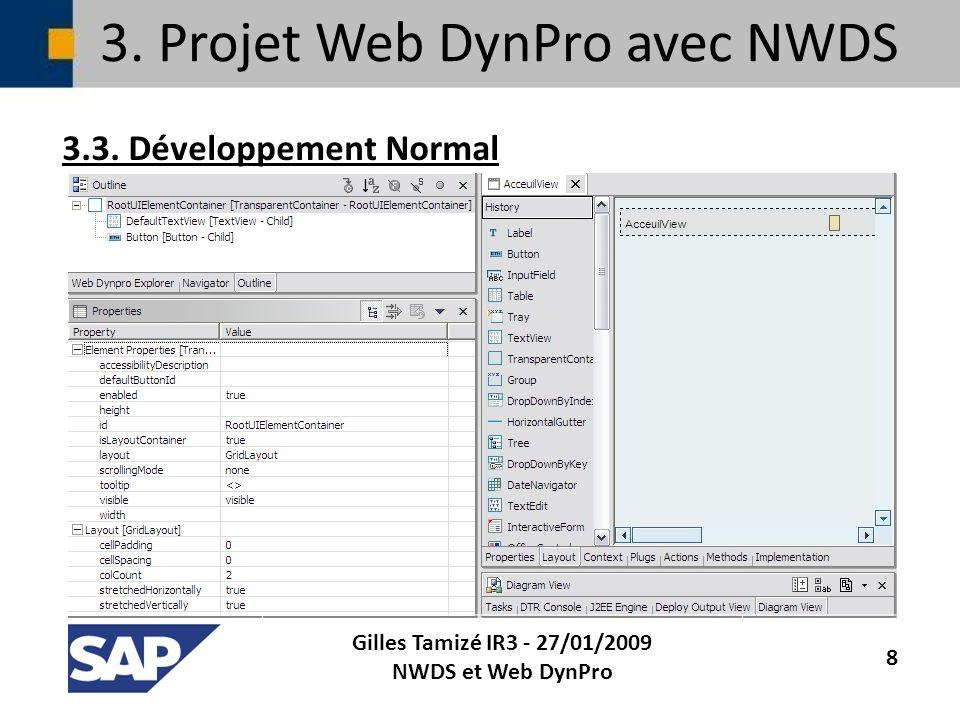 3. Projet Web DynPro avec NWDS 3.3. Développement Normal Gilles Tamizé IR3 - 27/01/2009 NWDS et Web DynPro 8
