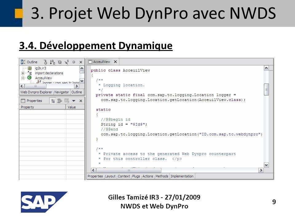 3. Projet Web DynPro avec NWDS 3.4. Développement Dynamique Gilles Tamizé IR3 - 27/01/2009 NWDS et Web DynPro 9