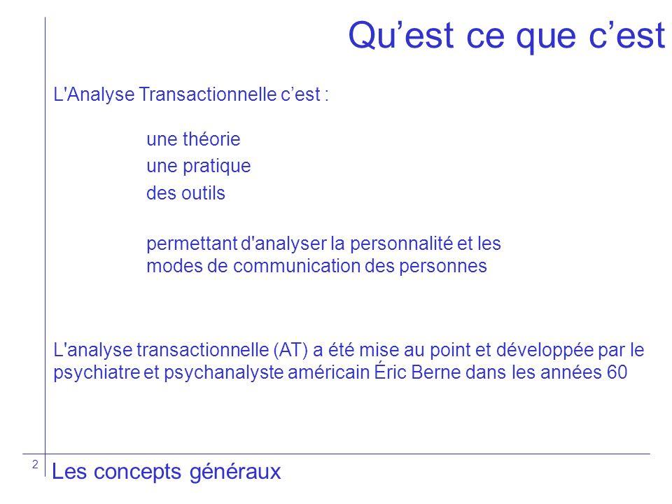 2 L'Analyse Transactionnelle cest : Les concepts généraux Quest ce que cest une théorie une pratique des outils permettant d'analyser la personnalité