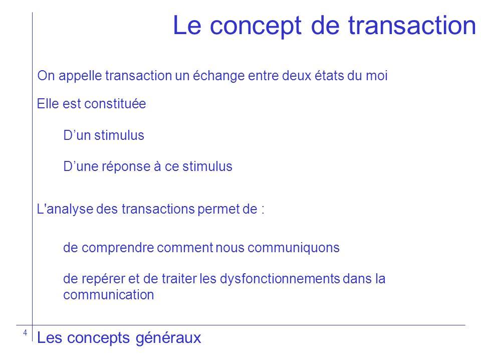 4 Les concepts généraux L'analyse des transactions permet de : Le concept de transaction On appelle transaction un échange entre deux états du moi Dun