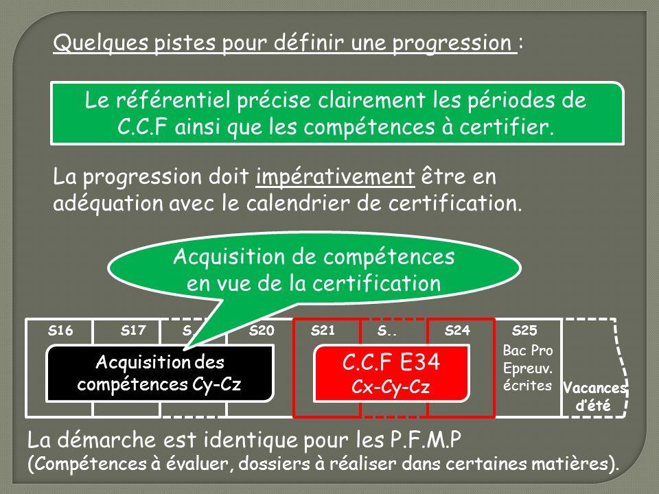 Le référentiel précise clairement les périodes de C.C.F ainsi que les compétences à certifier. Quelques pistes pour définir une progression : La progr