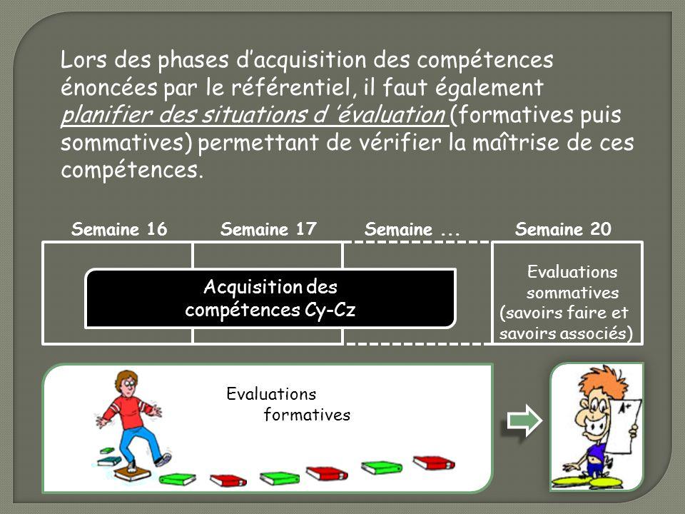 Lors des phases dacquisition des compétences énoncées par le référentiel, il faut également planifier des situations d évaluation (formatives puis som