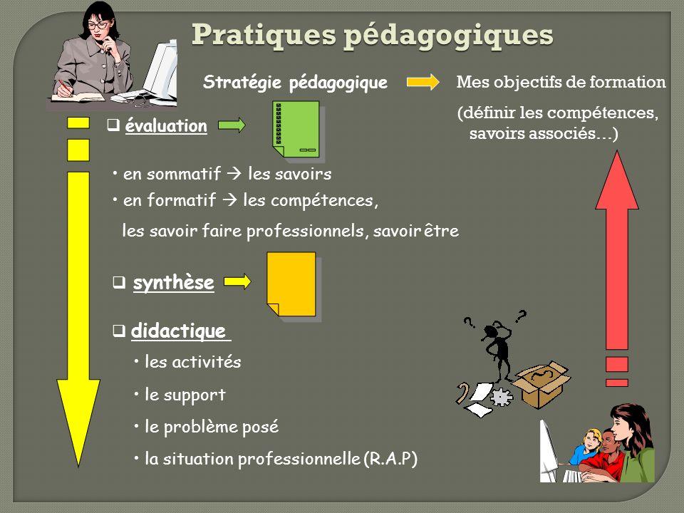 Pratiques p é dagogiques synthèse évaluation Stratégie pédagogique en formatif les compétences, les savoir faire professionnels, savoir être en sommat