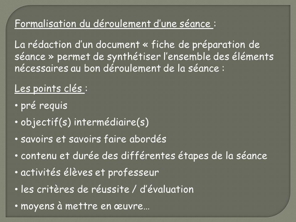 Formalisation du déroulement dune séance : La rédaction dun document « fiche de préparation de séance » permet de synthétiser lensemble des éléments n