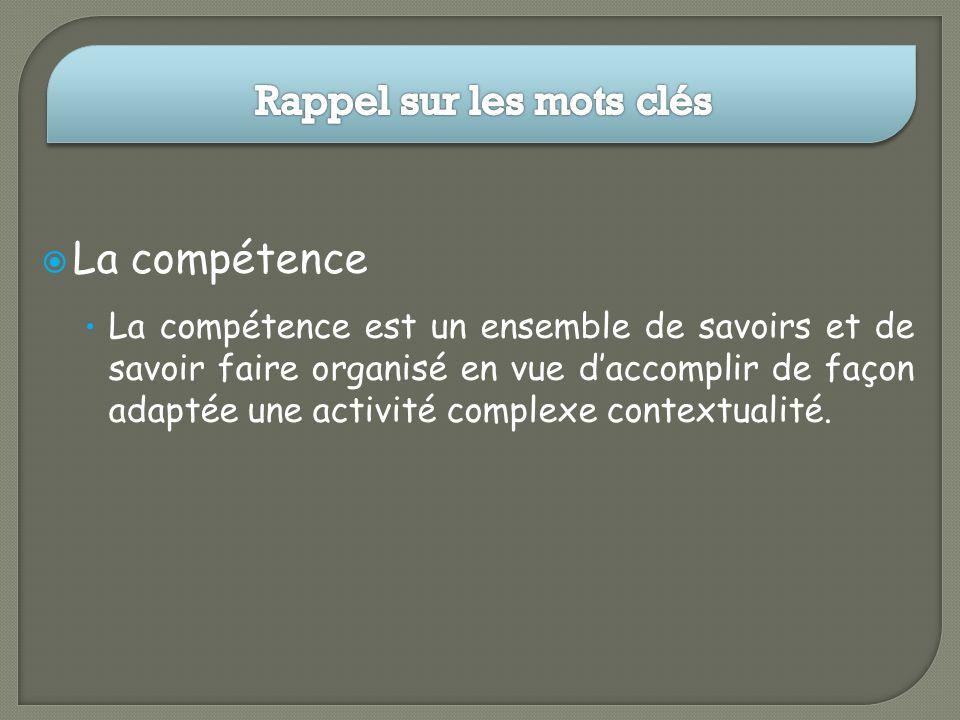 La compétence La compétence est un ensemble de savoirs et de savoir faire organisé en vue daccomplir de façon adaptée une activité complexe contextual