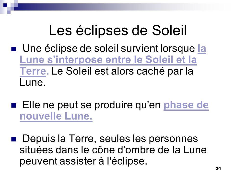 24 Les éclipses de Soleil Une éclipse de soleil survient lorsque la Lune s'interpose entre le Soleil et la Terre. Le Soleil est alors caché par la Lun